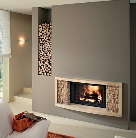 Arredo studio pareti beige - Caminetti da interno moderni ...