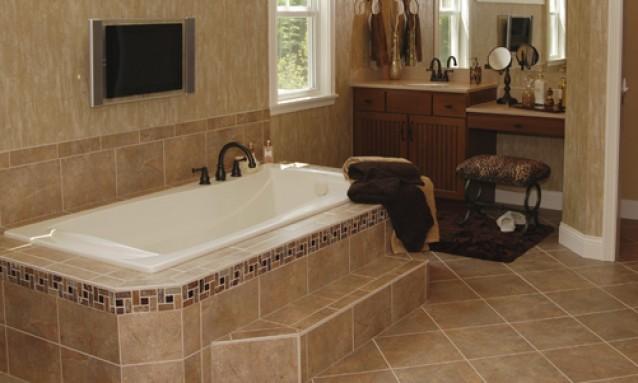 elegante esempio di installazione di impianto di riscaldamento a pavimento nella sala da bagno